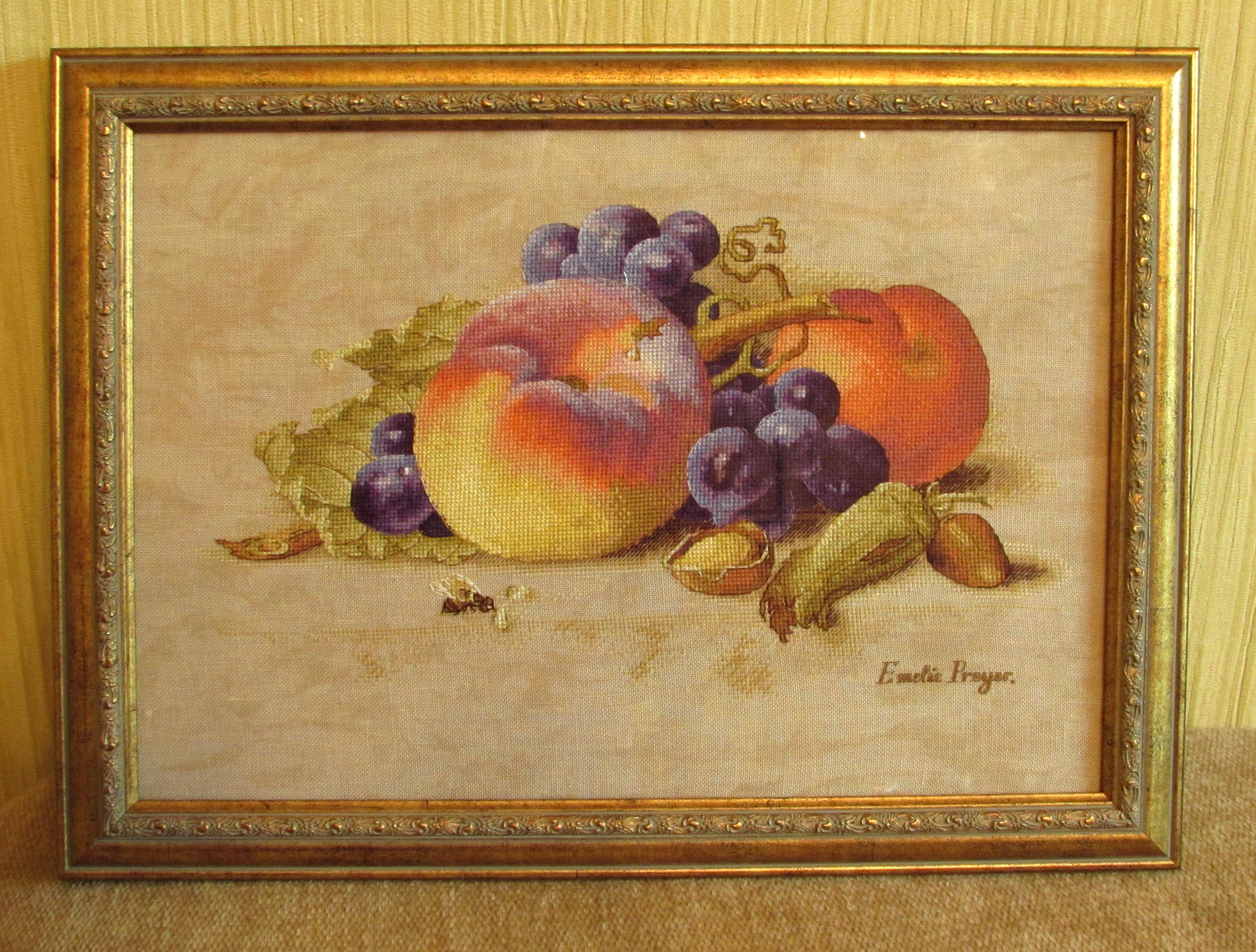 Схема вышивки крестом с персиками