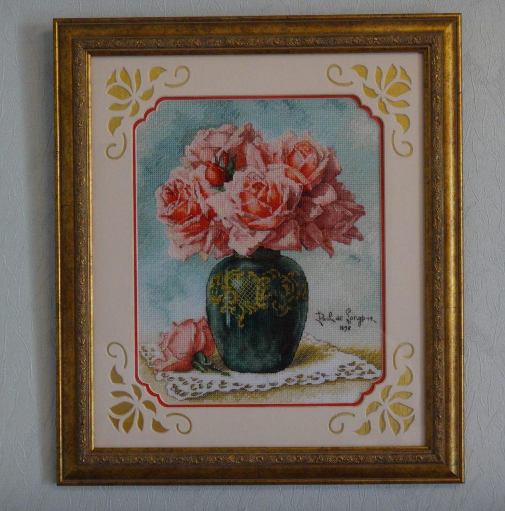 Отшив схемы для вышивки крестом Екатерины Волковой - Розы в вазе