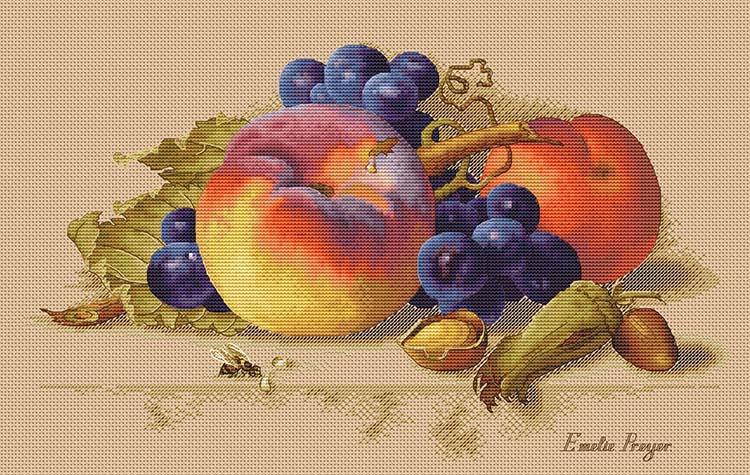 Авторская схема для вышивки крестом Екатерины Волковой - Натюрморт с персиками