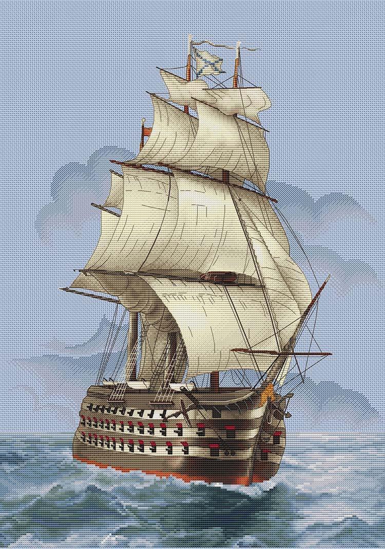 Авторская схема для вышивки крестом Екатерины Волковой - Корабль