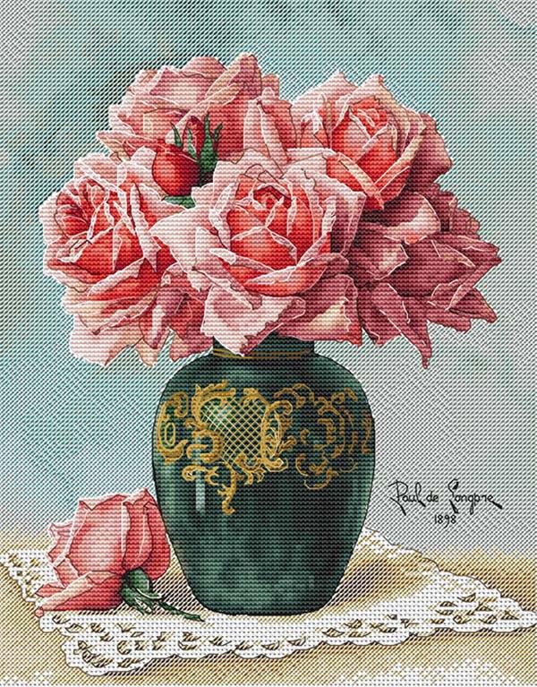 Схема для вышивки крестом Екатерины Волковой - Розы в вазе