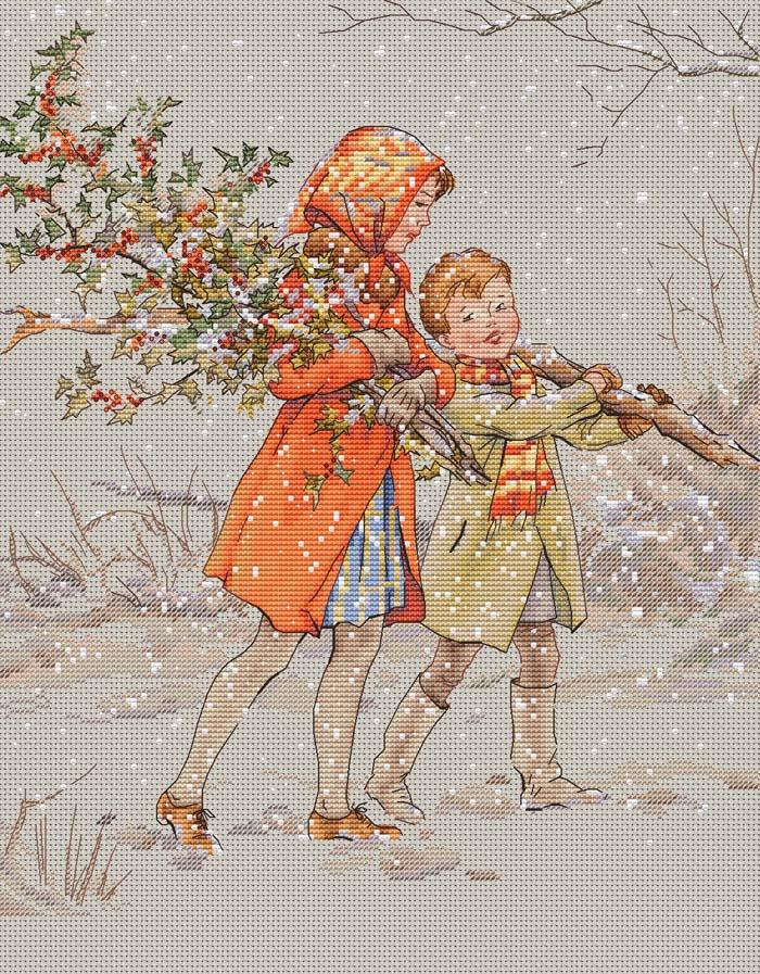 Авторская схема для вышивки крестом Екатерины Волковой - За остролистом