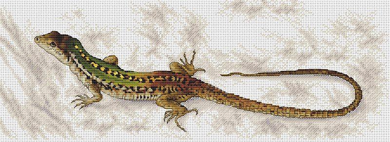 Авторская схема для вышивки крестом Екатерины Волковой - Ящерка
