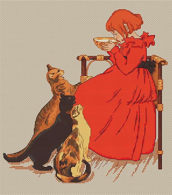 Авторская схема для вышивки крестом Екатерины Волковой - Девочка в красном