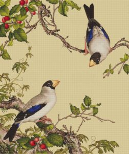 Авторская схема для вышивки крестом Екатерины Волковой - Птицы и вишня