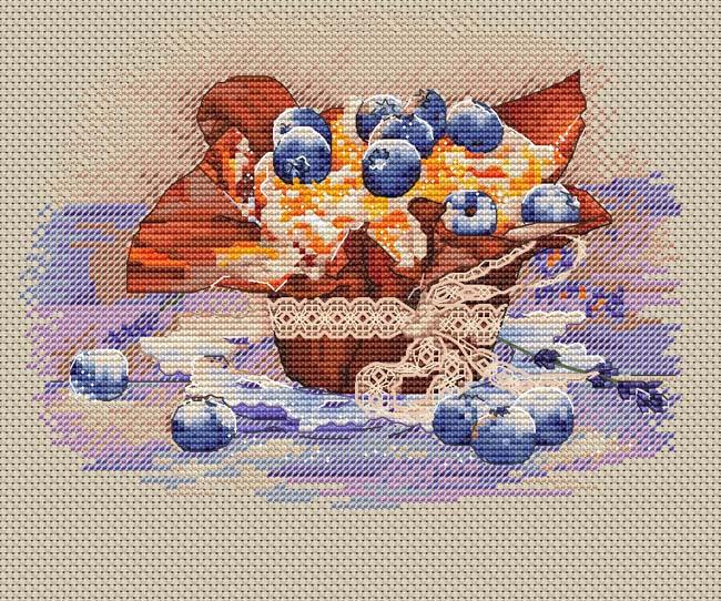 Авторская схема для вышивки крестом Екатерины Волковой - Десерт с черникой