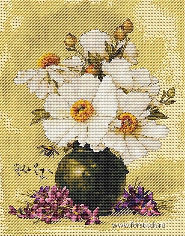 Авторская схема для вышивки крестом Екатерины Волковой - Анемоны