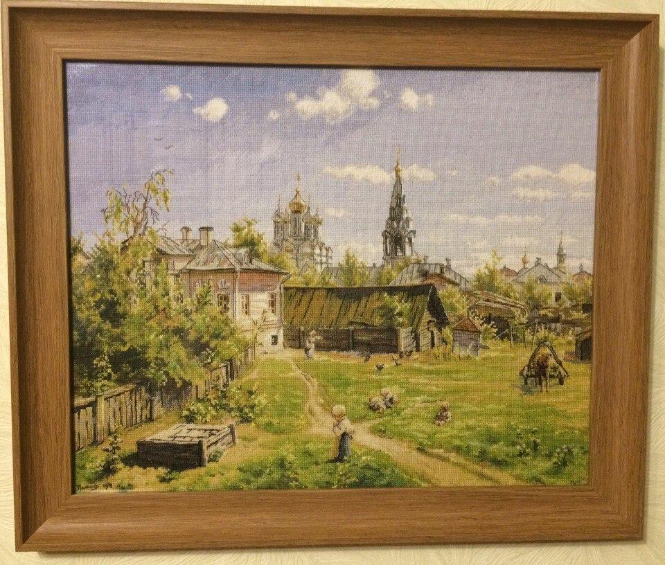 Вышивка крестом московский дворик