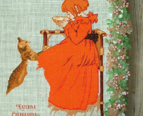 Процесс отшива схемы Екатерины Волковой - Девочка в красном