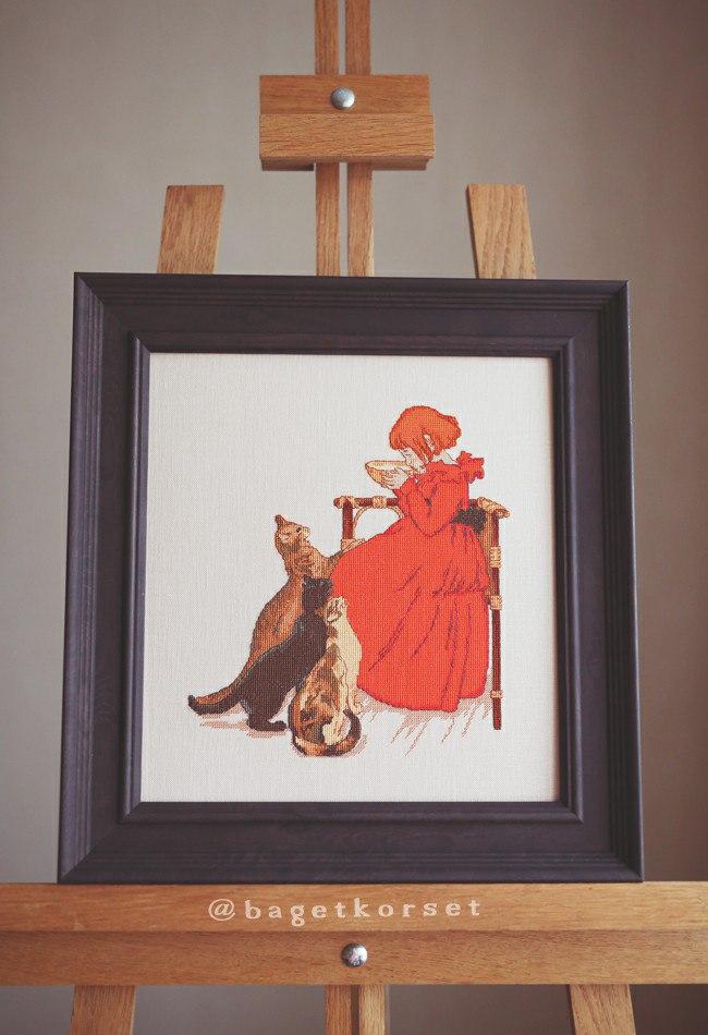 Отшив авторской схемы для вышивки крестом Екатерины Волковой - Девочка в красном