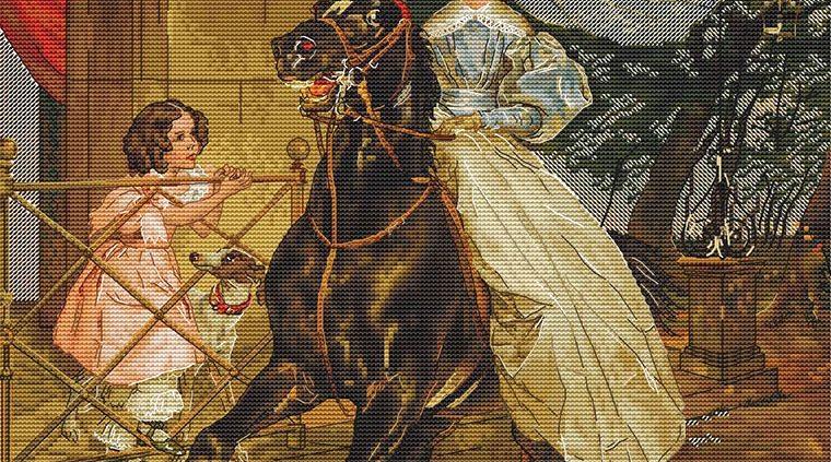 Схема для вышивки крестом Екатерины Волковой - Всадница