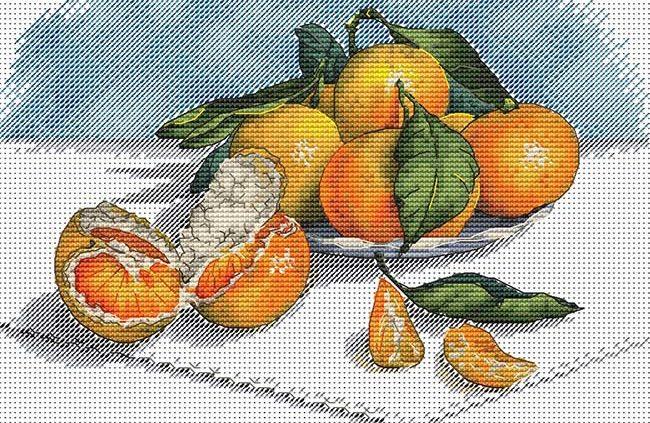 Авторская схема для вышивки крестом Екатерины Волковой - Мандарины