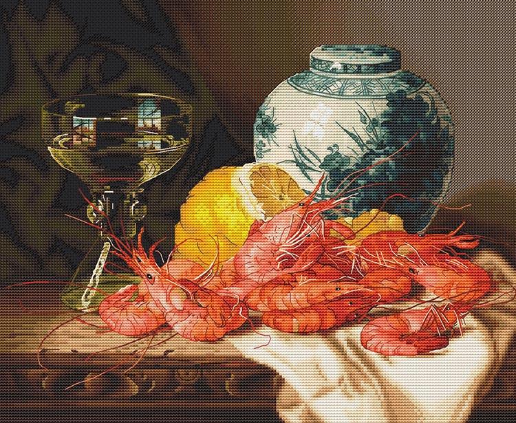 Авторская схема для вышивки крестом Екатерины Волковой - Натюрморт с креветками