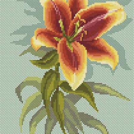 Авторская схема для вышивки крестом Екатерины Волковой - Красная лилия