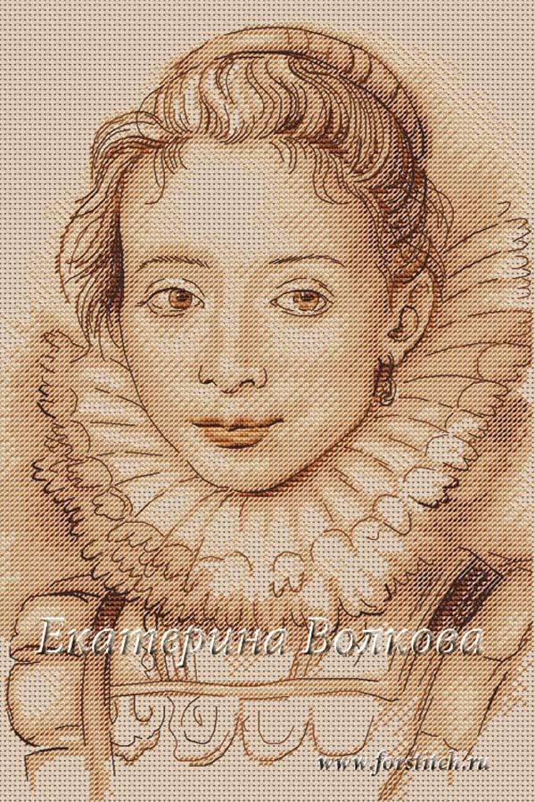 Авторская схема для вышивки крестом Екатерины Волковой - Портрет камеристки