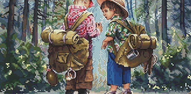 Авторская схема для вышивки крестом Екатерины Волковой - Юные следопыты