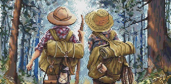 Авторская схема для вышивки крестом Екатерины Волковой - Туристы