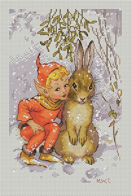 Авторская схема для вышивки крестом Екатерины Волковой - Эльф и зайка