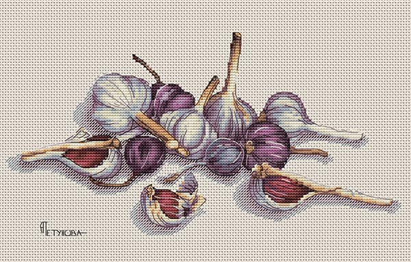 Авторская схема для вышивки крестом Екатерины Волковой - Чеснок