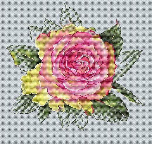 Авторская схема для вышивки крестом Екатерины Волковой - Роза обещание