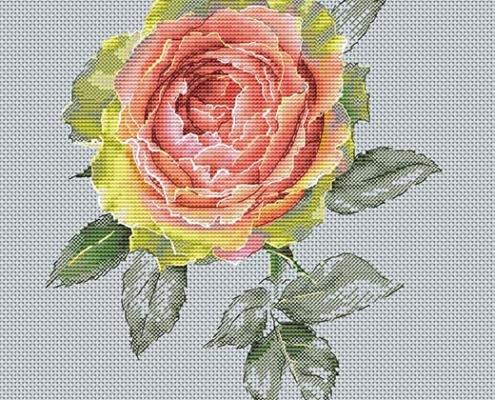 Авторская схема для вышивки крестом Екатерины Волковой - Роза вдохновение