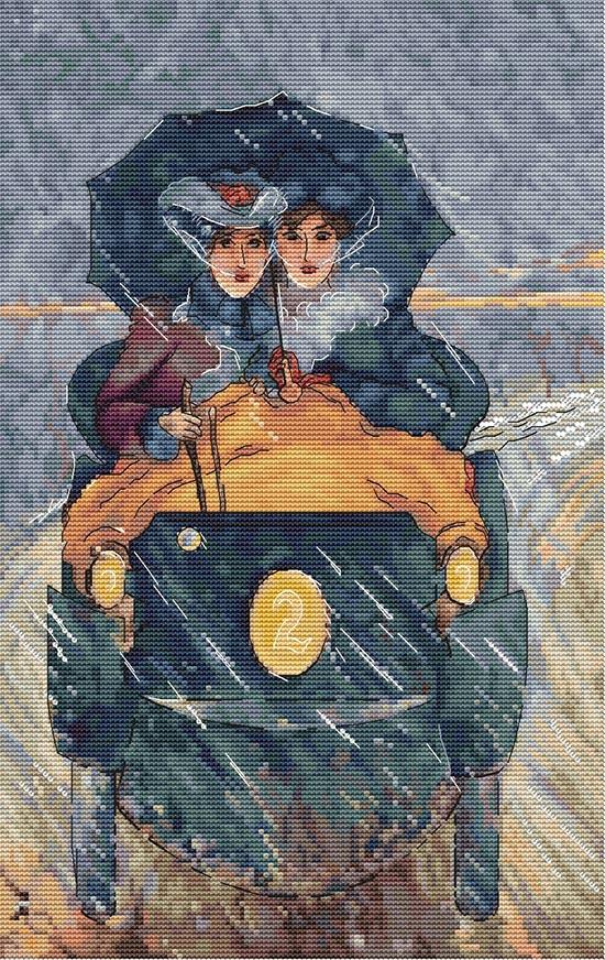 Авторская схема для вышивки крестом Екатерины Волковой - Леди за рулем