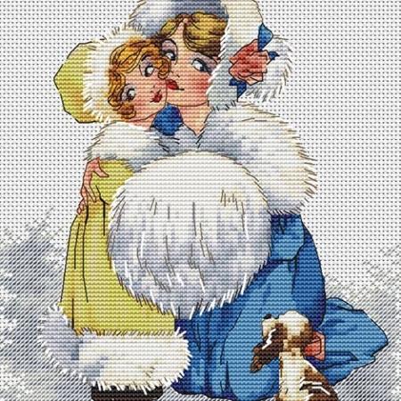Авторская схема для вышивки крестом Екатерины Волковой - Барышни с собачкой