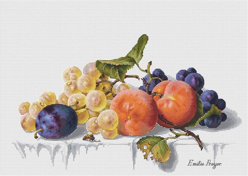 Авторская схема для вышивки крестом Екатерины Волковой - Персики и виноград