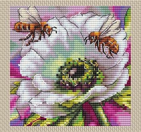 Авторская схема для вышивки крестом Екатерины Волковой - Пчелы и анемон