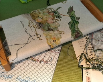 Отшив авторской схемы для вышивки крестом Екатерины Волковой - Виноград